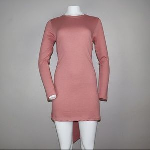Missguided Long Sleeve Belted Dress Mauve